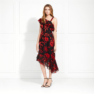 Rachel Zoe Antonia Satin Flower Burnout Midi Dress