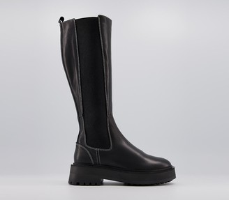 Office Kinley Feature Elastic Knee Boots Black Leather