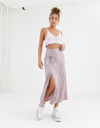 Ghost ruffle front satin midi skirt-Grey