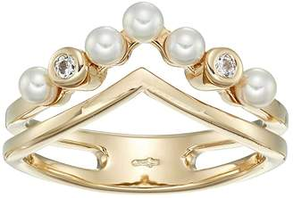Majorica Arabesque - 3 mm White Round Pearls Ring with CZ in Gold Plated Silver (White) Ring