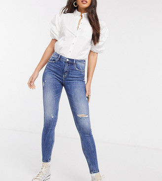 Stradivarius Tall high rise skinny jeans in blue