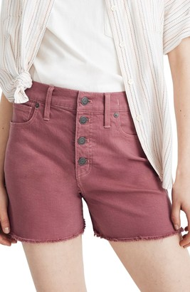 Madewell Button Front High Waist Garment Dyed Shorts