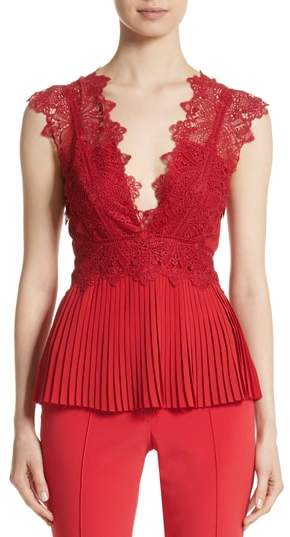 Yigal Azrouel Coral Embroidered Pleated Top