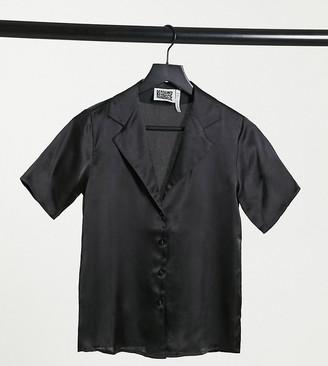 Reclaimed Vintage inspired satin short sleeve shirt in black