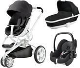 Quinny Moodd 3 in 1 Package with Foldable Carrycot and Maxi-Cosi Pebble - Black Irony/Black Raven