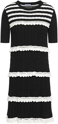 RED Valentino Lattice-trimmed Two-tone Striped Ribbed Cotton Mini Dress