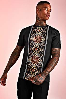BoohoomanBoohooMAN Mens Black Muscle Fit Baroque Print Panelled T-Shirt, Black