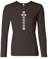 Buy Cool Shirts Ladies Yoga White 7 Chakras Brown Long Sleeve T-Shirt XL