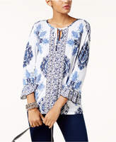 INC International Concepts Mixed-Print Peasant Top, Created for Macy's