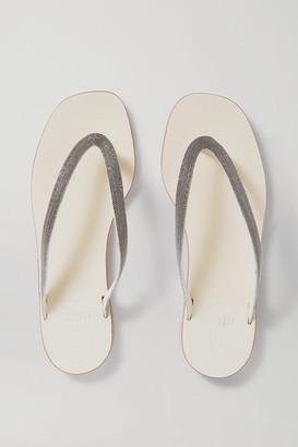 Brunello Cucinelli Beaded Leather Flip Flops - Off-white