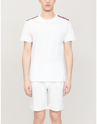 Moschino Logo-tape stretch-cotton T-shirt
