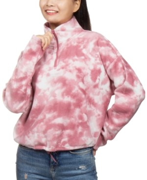 Hippie Rose Juniors' Tie-Dyed Fleece Quarter-Zip