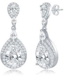 La Preciosa Sterling Silver Double Pear-shaped Cubic Zirconia Statement Dangling Earrings