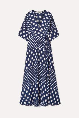 Diane von Furstenberg Eloise Printed Silk-crepe Wrap Maxi Dress - Navy