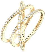 Elli Women's 925 Sterling Silver Gold-Plated Zirconia Ring - Size M