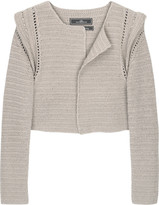 Lornae peak-shoulder cropped cardigan