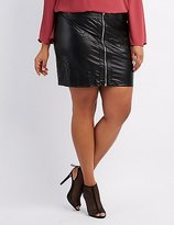 Charlotte Russe Plus Size Embroidered Faux Leather Skirt