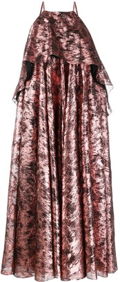 Halpern Metallic Halter Neck Dress