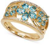 Macy's Swiss Blue Topaz (1-1/2 ct. t.w.) and Diamond (1/10 ct. t.w.) Ring in 14k Gold