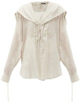 Ann Demeulemeester Laced Cotton-voile Blouse - Womens - Beige
