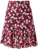 Saint Laurent anemone print ruffle skirt - women - Silk - 36