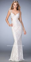 La Femme Beaded Diagonal Strap Open Back Prom Gown