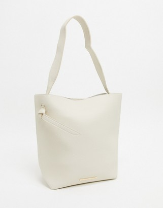 French Connection mottled leather tote bag-Cream