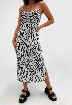 Missguided White Zebra Print Cami Cowl Neck Midi Dress