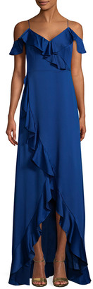 Aidan Mattox Off-The-Shoulder Flounce Gown