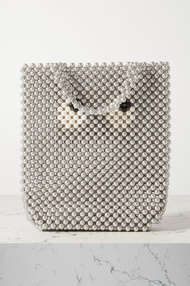 Anya Hindmarch Eyes Small Leather-trimmed Beaded Tote - Gray