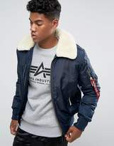 Alpha Industries Bomber Jacket Shearling Collar In Navy
