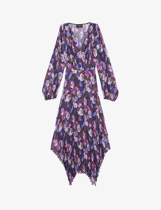 The Kooples Floral-print silk-crepe midi dress