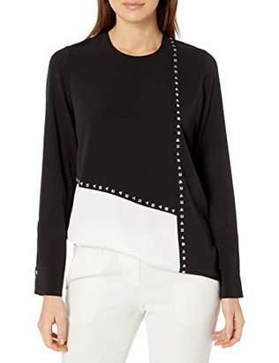 Calvin Klein Women's Colorblock Blouse with Stud Detail
