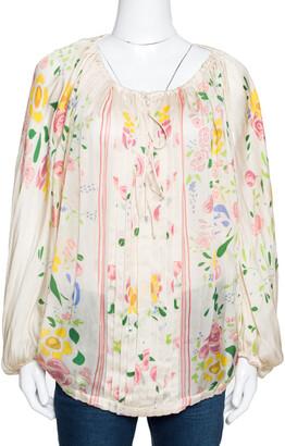 Roberto Cavalli Cream Floral Print Silk Sheer Kaftan Top M