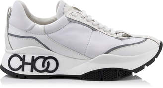 Jimmy Choo RAINE White Neoprene Calf and Rubberised Lace Up Trainers with Grey Reflective Strip