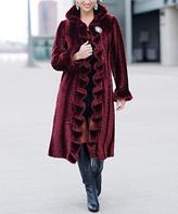 Burgundy Faux Mink Fur Coat