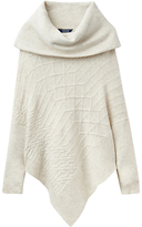Joules Sheena Roll Neck Poncho, Cream Marl
