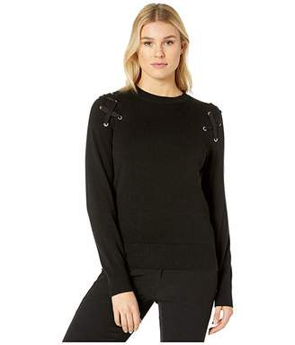 MICHAEL Michael Kors X- Detail Long Sleeve Crew Sweater