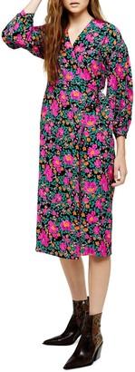 Topshop Floral Print Wrap Dress