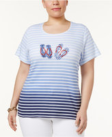 Karen Scott Plus Size Cotton Embellished Graphic T-Shirt, Only at Macy's