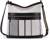 Elliott Lucca Black & White Mela Gini Leather Crossbody Bag