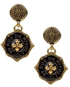 Patricia Nash Gold-Tone Black Agate Rue De Rivoli Drop Earrings