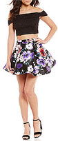 B. Darlin Sequin Lace Off-The-Shoulder Top To Floral Skirt Two-Piece Dress