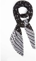 Dorothy Perkins Womens Striped And Spot Monochrome Plisse Scarf- Black