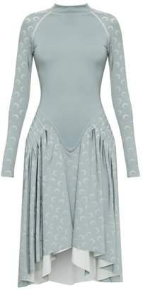 Marine Serre Crescent Moon-print Reflective-jersey Dress - Womens - Silver
