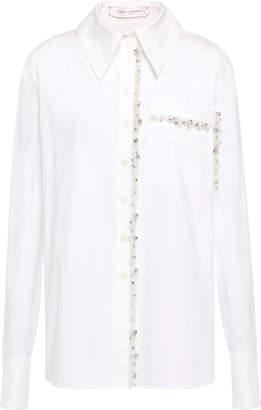 Carolina Herrera Tulle-trimmed Crystal-embellished Cotton-blend Poplin Shirt