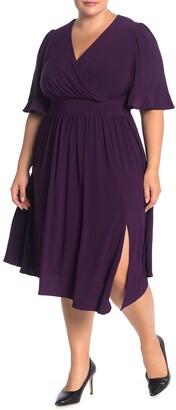 Eliza J Surplice Neck Elbow Length Sleeve ITY Dress