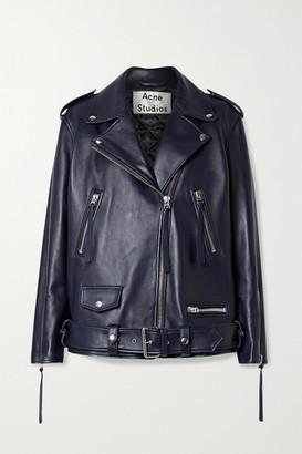 Acne Studios Oversized Leather Biker Jacket - Midnight blue