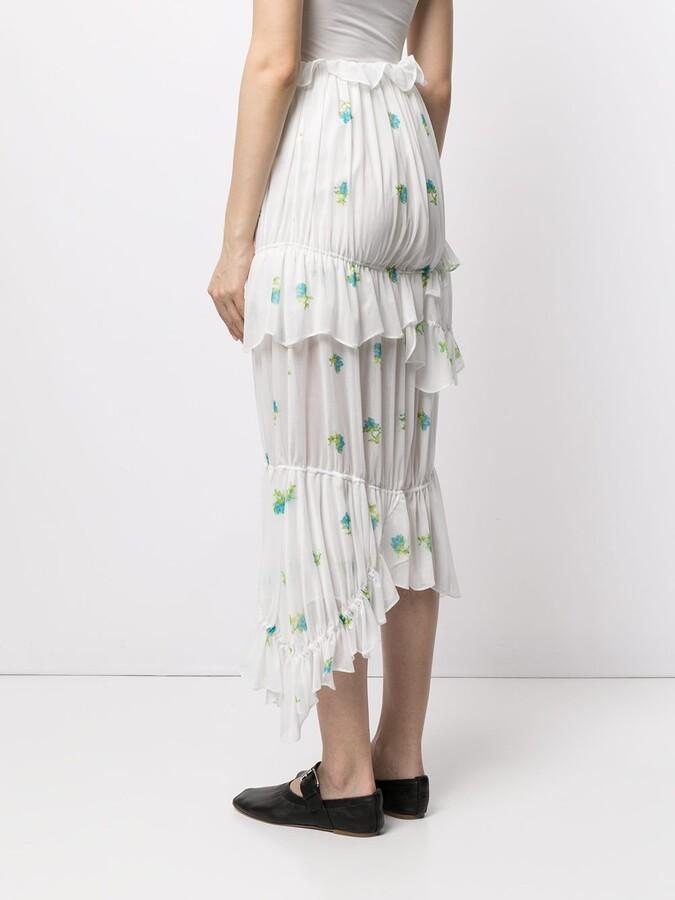 Thumbnail for your product : yuhan wang Floral-Print Ruffled Skirt