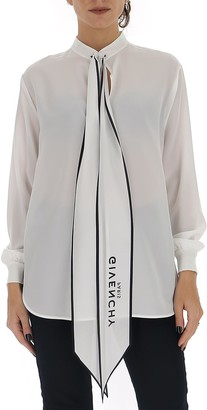 Givenchy Logo Tie Blouse